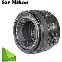 ObjetivoYONGNUO YN EF50 mm f/1.8, con enfoque automático para cámaras Nikon Aperture. Con una gamuza de limpieza EACHSHOT