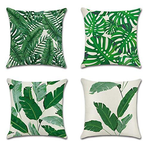 JOTOM Grün Tropische Pflanze Muster Kissenbezug 4er Set Kissenhülle Kopfkissenbezug 45 x 45cm für Sofa Auto Terrasse Zierkissenbezüge (Bananenblätter) -