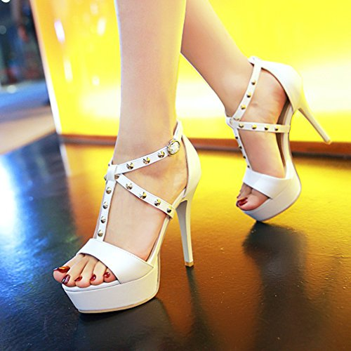 YE Damen Offen T-spangen Stiletto High Heel Plateau Sandalen mit Schnalle und Nieten Elegant Pumps Schuhe Weiß