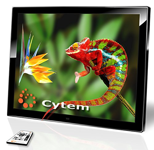 Cytem DiaMine 15; Digitaler Bilderrahmen 38,1cm (15 Zoll im 4:3 Format); mattes LED Display; HD-Video (720p); (Schwarz)
