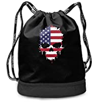 wwoman American Skull Drawstring Bag For Mens And Womens, 100% Polyester Durable Shoulder Bags
