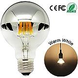LED luz bombillas mitad cromo plata corona 6 W G80 bombilla E27 casquillo de bayoneta, forma de globo blanco cálido 2700 K intensidad regulable