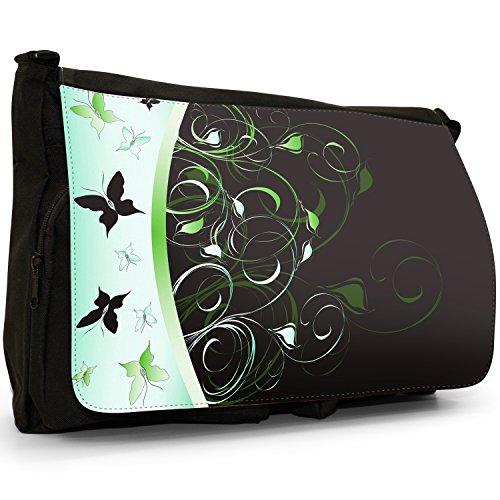 nbsp;Borsa Tracolla Scuola Vortici Per Grande Tela Laptop Nera nbsp;– Green farfalla Borsa Elegante 8q6wHH