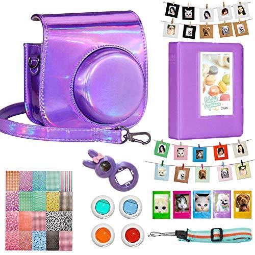 Cpano10 in 1 Instax Mini 9 Kameratasche Zubehör-Bundle, kompatibel mit Instax Mini 8 8+ Enthalten Fall/Album/Selfie Objektiv/Filter/Wandbehang Frames/Film Frames/Border Aufkleber (Laser lila)