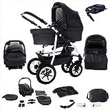 Bebebi Bellami | ISOFIX Basis & Autositz | 4 in 1 Kombi Kinderwagen | Hartgummireifen | Farbe: Bellanero