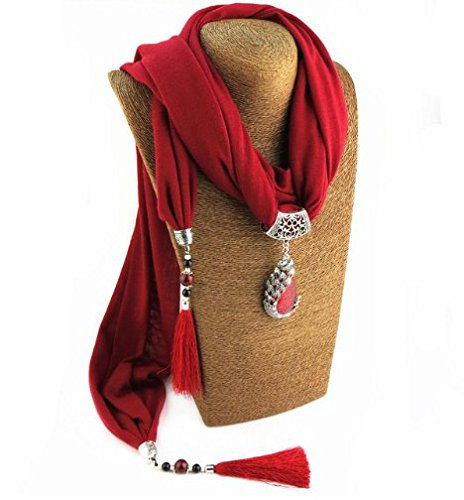 Satyam Kraft Maroon Fabric Stone Scarf Pendant Necklace For Women