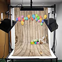 FLORATA 5x7ft Vinyl Photography Background Bear Ballon Wooden Floor born Baby Children Photography Backdrop Collapsible Photo Studio Props by FLORATA
