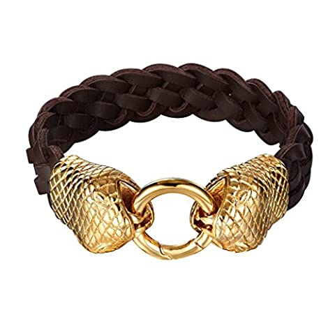 316 Stainless Steel Mens Leather Bracelet Double Gold Snake Heads Round Clasp Legth 22.5 CM - Adisaer Jewelry