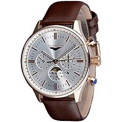 GUANQIN GQ12003 - Reloj de hombre de cuarzo con dial grande, (correa de cuero, Cuarzo japonés), Champán y plateado