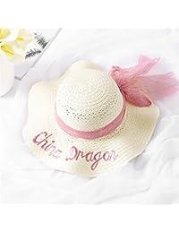 Grande cappello da donna ondulata cappello di paglia estivo cappello da  spiaggia da donna con ricamo c68e7a9fc368