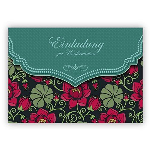 Traum Retro Einladungskarte mit Vintage Seerosen Muster in grün für Mädchen: Einladung zur Konfirmation