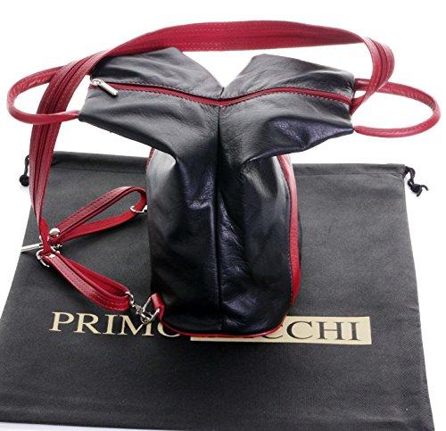 Italiano morbida nappa pelle maniglia superiore Borsa a tracolla zaino zaino.Fornita nella pratica custodia protettiva marca Nero & rosso