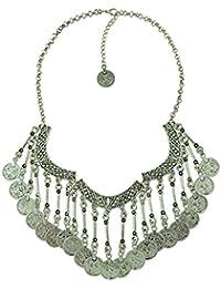idealway New Fashion monedas de plata declaración babero colgante Chunky Gargantilla Collar para las mujeres niñas