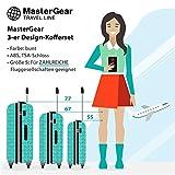 MasterGear - Ensemble de 2 valises Design mobiles et ultra légères - 4 roulettes (360 °) - Valises à roulettes, valise avec coque rigide, ABS, cadenas à combinaison, emboîtables - tailles M & L - Bleu Pétrole