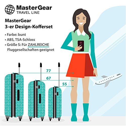 MasterGear 3er Design Kofferset | 4 Rollen (360 Grad) | Trolley, Reisekoffer, Hartschalenkoffer, ABS, Zahlenschloss, stapelbar | 3er Set,Blau (petrol)