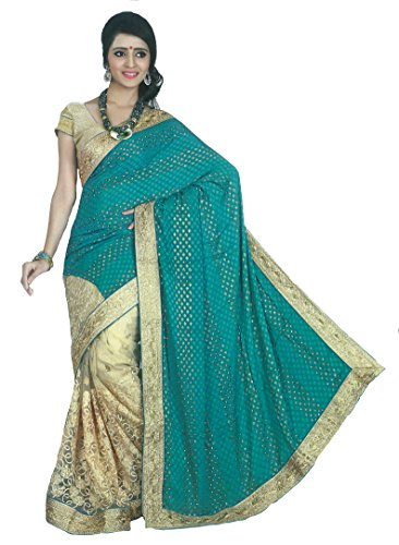 Chirag Sarees Georgette Saree With Blouse Piece (Que6065_Green_Free Size)