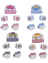 EIO Soft Cotton New Born Baby Caps Booties Mittens Combo Set, 0-6 Months (Multicolour) - Pack of 4