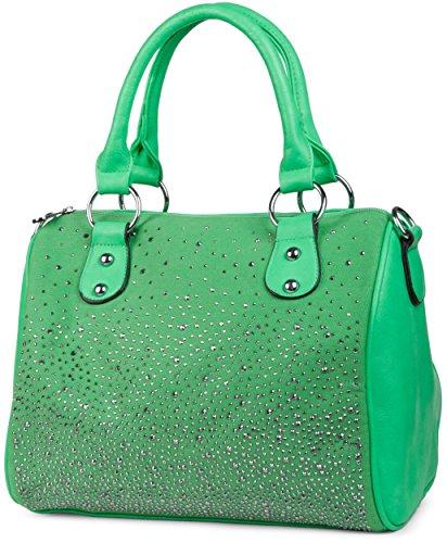 styleBREAKER Bowling Bag Handtasche mit Nieten Strass Applikation im Sternenhimmel Design, Damen 02012021, Farbe:Grün