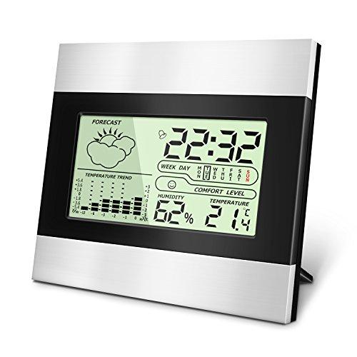 Digitales Thermo Hygrometer Indoor Hygrometer Thermometer Mini Luftfeuchtigkeit Messen mit LCD-Bildschirm, MIN / MAX-Aufzeichnungen, Trendtemperaturänderung, °C / °F-Schalter und Alarm Wecker