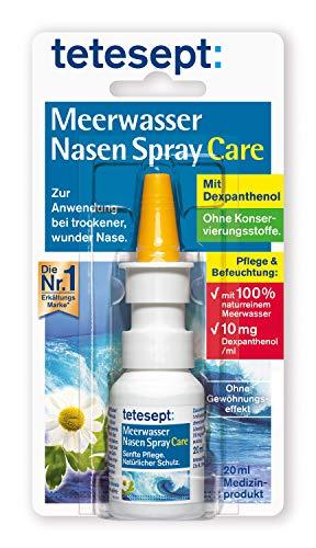 Tetesept Meerwasser Nasen Spray Care - Pflegendes & abschwellendes Nasenspray zur natürlichen Reinigung & Regeneration der Nasenschleimhaut bei Erkältung - 5 x 20 ml
