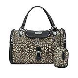 YOUJIA Leopard Transporttasche Hundetasche Katzentasche Tragetasche für Kleine Hunde und Katzen Hundebox Katzenbox Tragebox Chihuahua (Leopard, 34 * 22 * 20cm)
