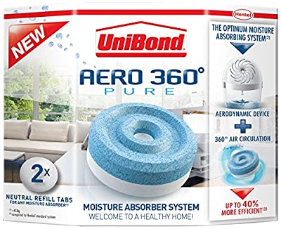 Henkel 1807921 UniBond Aero 360 Moisture Absorber Refills, White & Blue, 2-Pieces