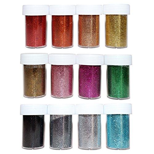 20er Set Feines Handwerks Glitzer Glitter Farbenvielfalt von Kurtzy - 10g Mehrfarbige Gefäße - Verschiedene Mixbecher für Künste und Handwerke, Kartenherstellung, Glitter Kleber, Stoff und Mehr