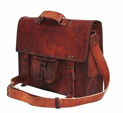 Handolederco Sacoche en cuir vintage 38,1cm, sac d'ordinateur portable à bandoulière pour homme et pour femme