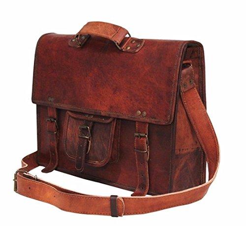handolederco 38,1cm Vintage Aktentasche Leder Schulter Messenger Laptop Tasche für Herren und Damen -