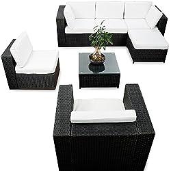 XINRO® erweiterbares 21tlg. Eck Polyrattan Lounge Set - schwarz - Gartenmöbel Sitzgruppe Garnitur Lounge Möbel Ecke - inkl. Lounge Sessel + Ecke + Hocker + Tisch + Kissen