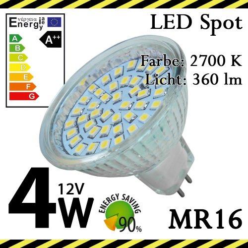 8-er Pack ALMIPEX MR16 LED Lampe 4W (12V - 360lm - 2700 K - Warmweiß - 42 SMD LED - 120º Abstrahlwinkel - GU5.3 Sockel - 12V AC/DC - 4 Watt - Ø 49×50 mm)
