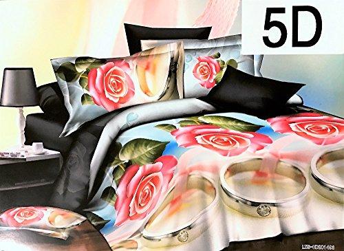 Floral Bettdecke In Voller Größe (3D Effekt Bettwäsche Set mit Bettlaken + Kissen, Kissenbezug mit Blumenmuster (Dana, King), mehrfarbig, King Size)