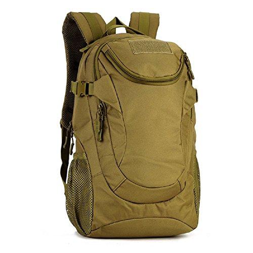 Zaino Unisex 25L Tattico Militare Studente Zaino Outdoor Sport Backpack per Viaggio Escursionismo Campeggio Alpinismo Rain Cover Inclusa,Nero Marrone Scuro