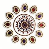 Handcrafted Decorative Rangoli set – Jewel Stone/ Kundan Decorations on OHP Base – 13 piece set - for Home Décor