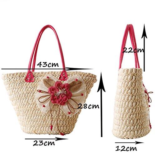 YOUJIA Damen Gewebt Stroh Handtaschen Strand Casual Handtasche Crochet Shopper Tragetaschen #2 Green