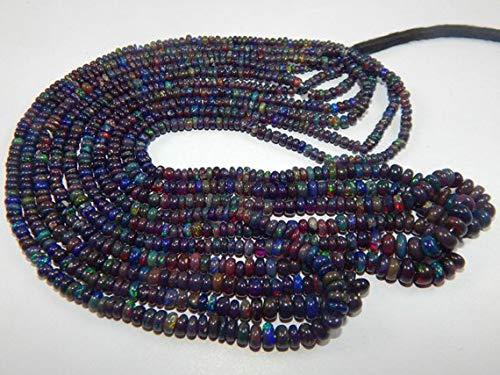 Earth Gems Park Beautiful Jewelry 3-9 mm 17'' Natural Black welo Ethiopian Opal Roundelle Beads 3 strand Code-UK-2060 -