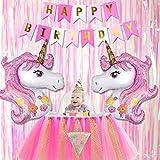"""Tumao Unicornio Tema Cumpleaños Fiesta Decoración, Contiene Bandera Tejido - """"Happy Birthday"""", Nuevo Diseño Rosado Unicornio Globo y Fiesta Escenario Cortinas"""