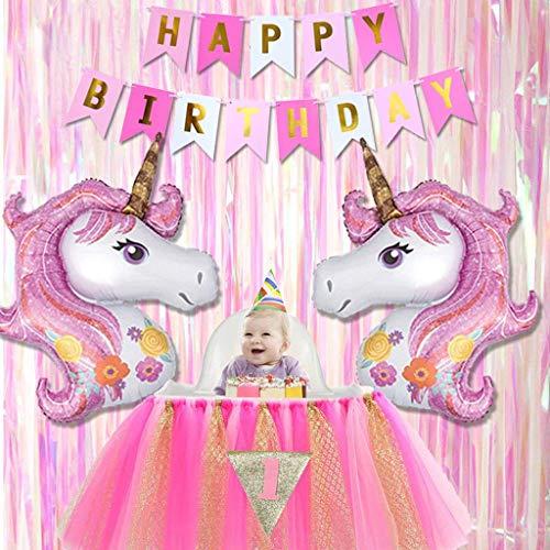 Tumao Unicornio Tema Cumpleaños Fiesta Decoración, Contiene Bandera Tejido - 'Happy Birthday', Nuevo Diseño Rosado Unicornio Globo y Fiesta Escenario Cortinas