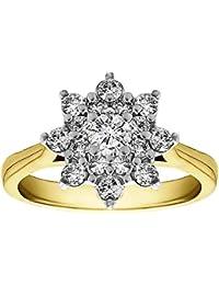 Silvernshine 0.49 Carat White Cubic Zirconia Diamond 10k Yellow Gold Plated Cluster Wedding Ring