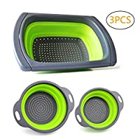 3PCS Kitchen Colander Collapsible Set Over The Sink Vegtable/Fruit Colander Strainer with Extendable Handles
