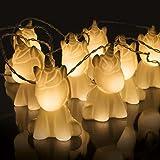 Niedliche Einhorn Lichterkette, 10 LEDs warmweiß, batteriebetrieben, 2m -