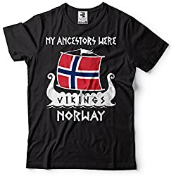 Silk Road Tees Arbol genealógico de los Hombres Vikingos Noruega Camiseta Vikings Roots Valhalla T Shirts XX-Large Negro