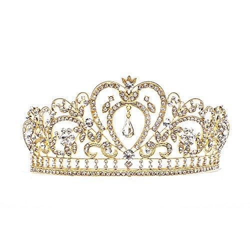 Barock klar Strass Kristall Tiara Krone, gold (Gold Queen's Tiara)