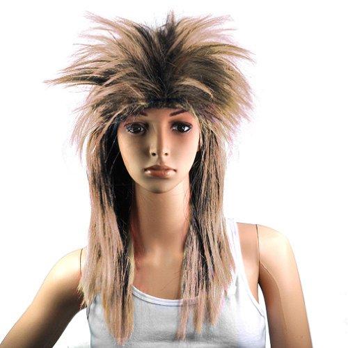 Gleader 80er Damen Glam Punk Rock Rocker-Kueken Tina Turner Peruecke fuer eine Kostuem - Braun Schwarz