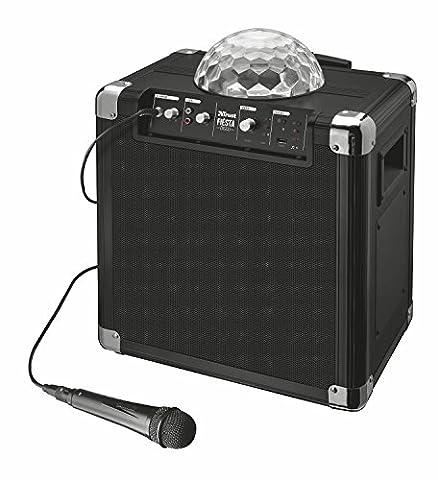 Trust Urban Fiësta Disco Tragbarer Lautsprecher mit Mikrofon (50W, 50 Stunden Akkulaufzeit, Interner Akku, LED Lichtshow,