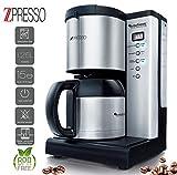Edelstahl Kaffeemaschine mit Thermoskanne und Timer, für bis zu 15 Tassen Kaffee (1,25L), kompakte Bauweise, inklusive Dauerfilter