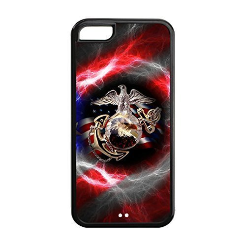 Novel Style USMC Marine Corps Printed Case Cover for iphone 5c -Soft TPU Back Designer Case Protector Black 021401