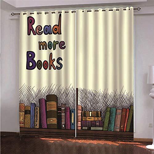 DOORWD Tenda Oscurante Termica Isolante 2 Pezzi Libreria Colorata 100% Poliestere con Occhielli per Finestre Soggiorno Venerdì Nero di Natale 140 * 160cm