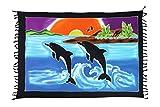 Sarong, paréo, jupe à nouer, drap de plage, drap à nouer, serviette, coloré(e), motif été, avec fermeture à boucle, env. 60modèles disponibles -  Multicolore - Taille Unique