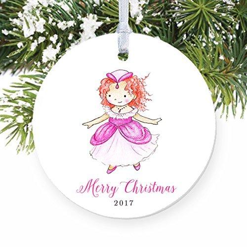 Rotschopf Princess Baby Girl rosa Kleid Fairy Princess rund Weihnachten Ornament Andenken Xmas Tree Dekoration Hochzeit Jahrestag Geschenk Weihnachtsbaum Geschenk Idee (Fairy Für Babys Kleider)